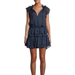 NWT MISA Los Angeles Tiered Ruffle Dress Blue